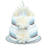 Bloomers Baby Nappy Cake-Modern Cream Dahlias with Aqua & Chocolate Stripes - Small 2-Tier