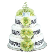 Bloomers Baby Nappy Cake-Safari Lime Green Daisies with Zebra Print - Large 3-Tier
