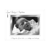 Malden International Designs Baby's Baptism Mirrored Glass With Silver Metal Inner Border Picture Frame, 4x6, Silver