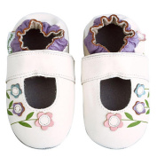 Momo Baby Infant/Toddler Soft Sole Leather Shoes - Lilies Mary Jane White