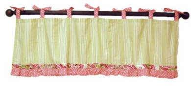 Pink & Lime Paisley Splash Window Valance in Pink