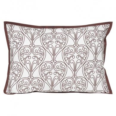 Bacati Damask Chocolate amd White Decorative Pillow