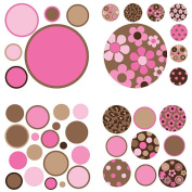 WallPops 8 Sheet Gone Dotty Wall Decals - Brown/Pink