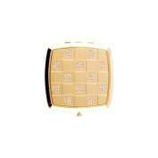Gold Chequered wClear Rhinestones Square Compact Mirror - S4227GLD