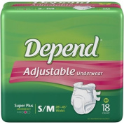 Depend Adjustable Incontinence Underwear, Maximum Absorbency, Size S/M, 18 Ct