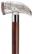 Unisex Embossed Whale Tooth'  Cane Black Shaft