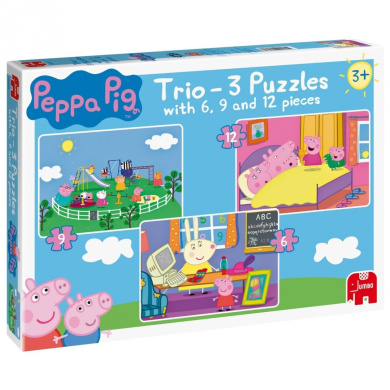 Peppa Pig Trio 3 Jigsaw Puzzles In A Box 6 9 And 12