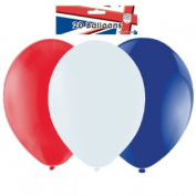 """Pack of 20 Red/White/Blue Latex Balloons (9""""/23cm) {Great Britain}"""