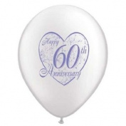 5 x WHITE LATEX 60th PEARL WEDDING ANNIVERSARY BALLOONS
