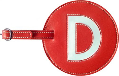Leather Initial 'D' Luggage Tag Set of 2