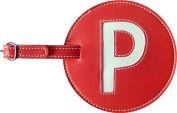 Leather Initial 'P' Luggage Tag Set of 2