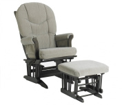 Dutailier Ultramotion Sleigh Glider Rocker Multiposition Recline and Ottoman Combo -  Espresso Finish Teal and Beige Str