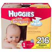 Huggies 216 Ct Little Snugglers Nappies - Size 1