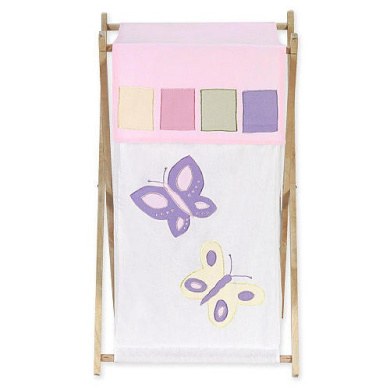 JoJo Designs Pink and Purple Butterfly Collection Laundry Hamper