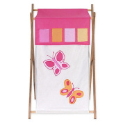 JoJo Designs Pink and Orange Butterfly Collection Laundry Hamper