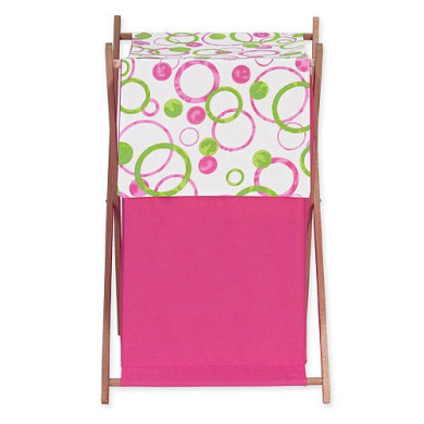 JoJo Designs Pink and Green Mod Circles Collection Laundry Hamper