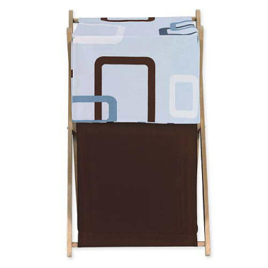JoJo Designs Blue and Brown Geo Collection Laundry Hamper