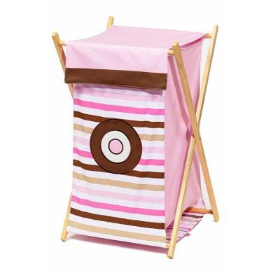 Bacati Pink/Chocolate Mod Dots and Stripes Hamper