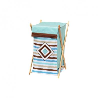 Bacati Aqua/Chocolate Mod and Stripes Hamper
