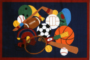 LA Rug GI-51 3958 Fun Time Collection - Sports America Rug - 99.1cm x 147.3cm