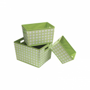 Badger Basket 3 Pack Polka Dot Nesting Trapezoid Shape Folding Baskets, Sage