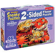 2-Sided Sneaky Floor Puzzle 46pcs 60cm x 90cm -A Day At The Zoo