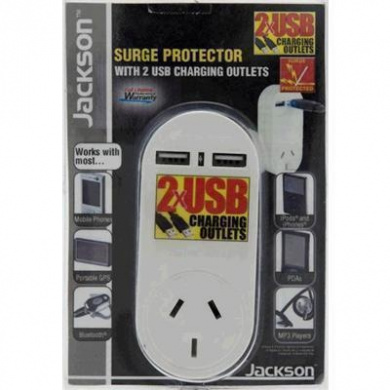 JACKSON Single Plug Surge protector /USB Wall Charger. 2x USB Charging Outlets 5VDC 1A  w/Power