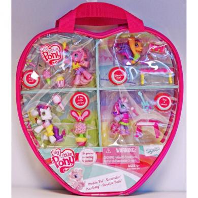 My Little Pony Ponyville Vinyl Bag With 4 Ponies & 12 Accessories