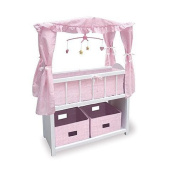 Doll Crib Bed with Shelf, Two Baskets, Canopy, Mobile