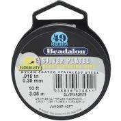 "Beadalon 49 Strand Wire .015"" Silver Plate 10ft"