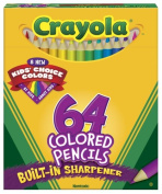 Crayola 64 Ct Short Coloured Pencils Kids Choice Colours