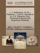 L. J. Hollenbach, III, Etc., Petitioner, V. John E. Haycraft et al. U.S. Supreme Court Transcript of Record with Supporting Pleadings