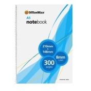 OfficeMax Spiral Notebook, OM571, A5, 300 Pages