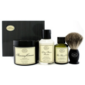 The 4 Elements Of The Perfect Shave - Unscented (New Packaging) (Pre Shave Oil + Shave Crm + A/S Balm + Brush), 4pcs
