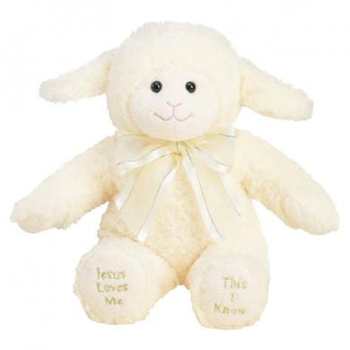 Jesus Loves Me Lamb Princess Soft Toy [With Soundboard]
