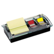 Note and Flag Dispenser, 3 x 3 Canary Notes and Assorted Flags, Black Dispenser