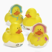 Dozen Vinyl Baby Shower Rubber Duckys - Pink & Blue