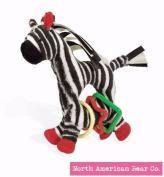 North American Bear Tickly Toy Zebra Ring Toy, Black/White