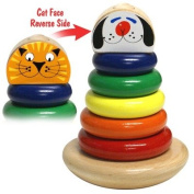 Classic Wood Stacking Ring Rocky Cat and Dog Made in USA Toy