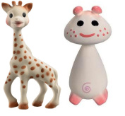 Vullie Sophie Giraffe and Pie Pink - Natural Rubber and Food Paint Details Set of 2