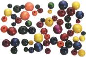 150 Assorted Wood Round Beads