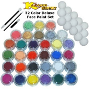 32 Colour Deluxe Face Paint Colour Set 10 ml with Applicator Kit