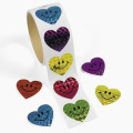 100 Laser Smile Face Heart Roll Stickers