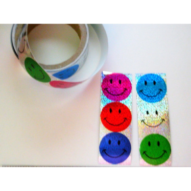 ~ 1 Roll ~ Laser Smile Face Stickers ~ 100 Stickers ~ New