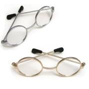 Doll Eyeglasses Set for 46cm American Girl Dolls - 1 Pair Gold Doll Eyeglasses & 1 Pair Silver Doll Eyeglasses - Set of Gold & Silver Doll Glasses