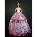 White Ball Gown with Pink Sequined Lace Details Made to Fit the Barbie Doll