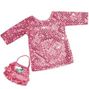 Dressy Doll Clothing 2 Pc. Set fits American Girl Dolls , 46cm Doll Dress Set of Hi Fashion Pink Sequin Dress and Satin Doll Purse with Pink Ruffles & Jewel