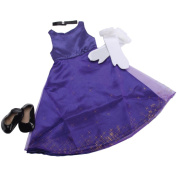 Springfield Collection Formal Party Outfit, Purple Dress, Black Choker/Shoes, White Glove