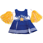 Fibre Craft 412829 Springfield Collection Cheerleader Outfit-Blue& White with Yellow Pom Poms