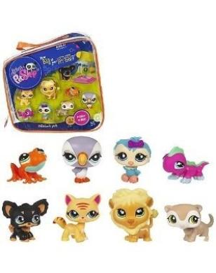Littlest Pet Shop #2 Collectors Pack of 8 Pets Frog, Parrot, Owl, Lion, Gecko, Ferret, Dog Cat